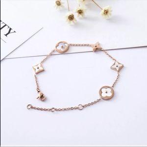 18KT Gold Plated Monogram Lucky Flower Bracelet